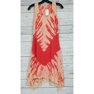 Red Haute Tie Dye Dress Beach Boho Pom Pom Linen